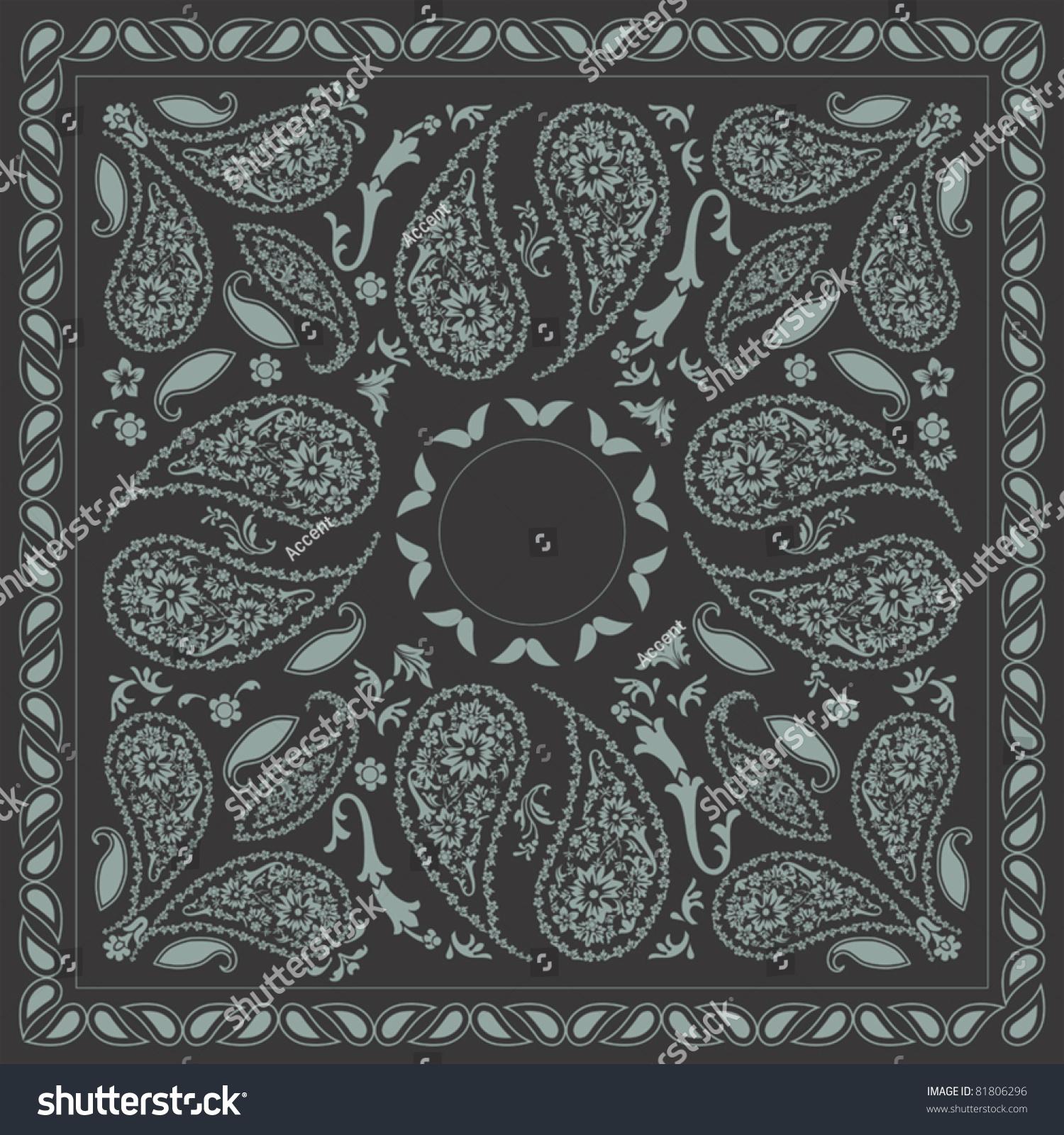 Bicolor Paisley Bandana Design Stock Vector 81806296 - Shutterstock
