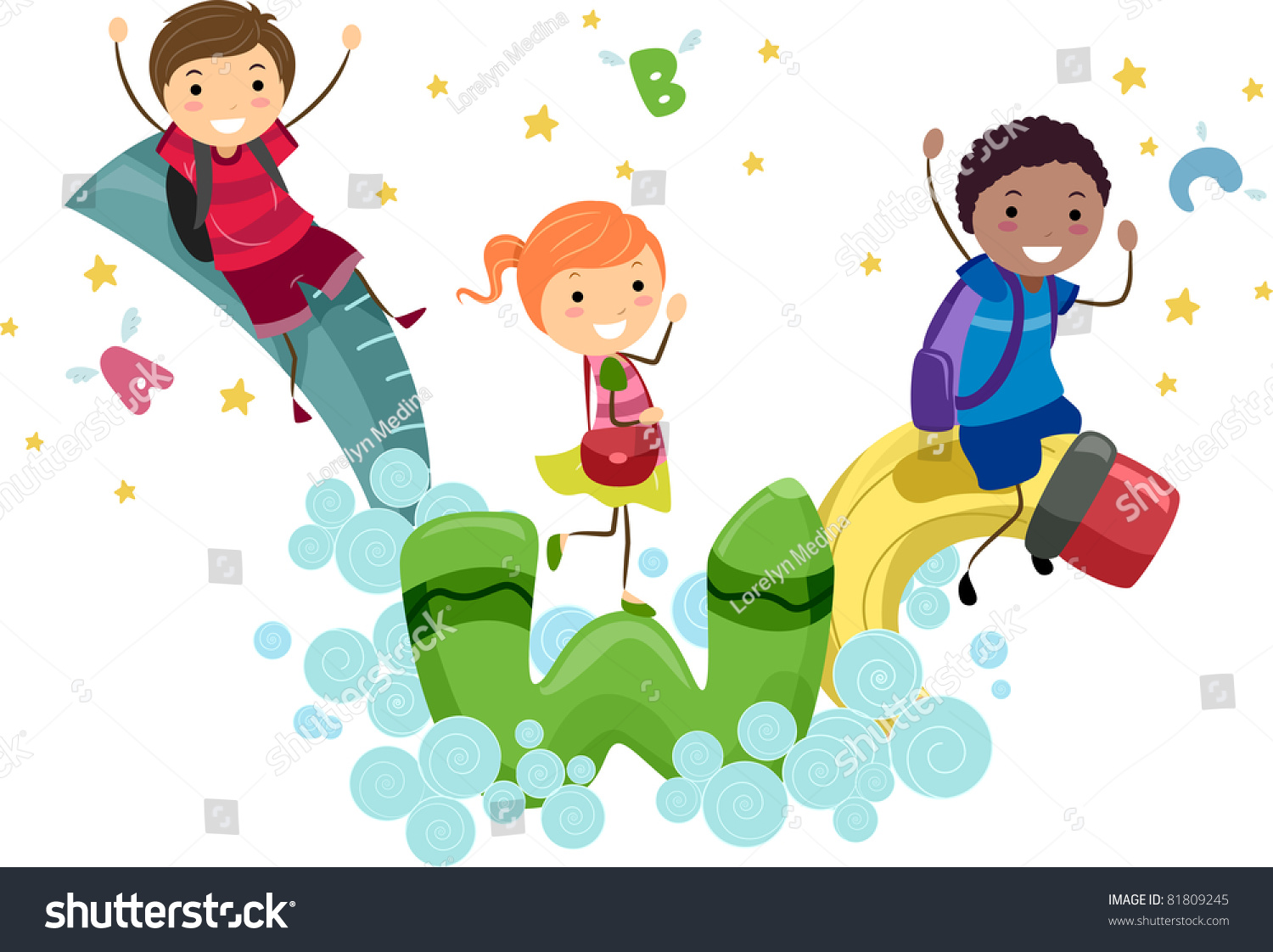 illustration kids playing animated school supplies stock vector