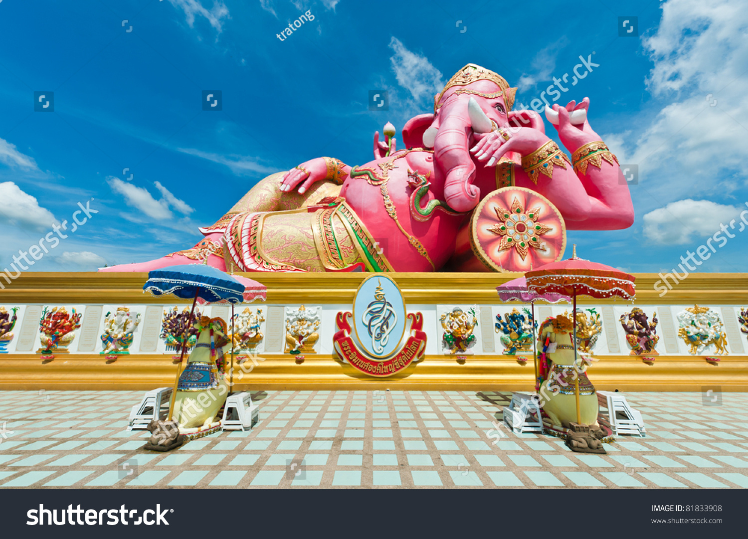 Chachoengsao Thailand  city pictures gallery : Pink Ganesha Statue At Wat Samarn, Chachoengsao, Thailand Stock Photo ...