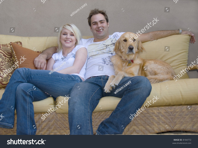 Attractive Young Couple Their Golden Retriever Stock Photo Edit Now