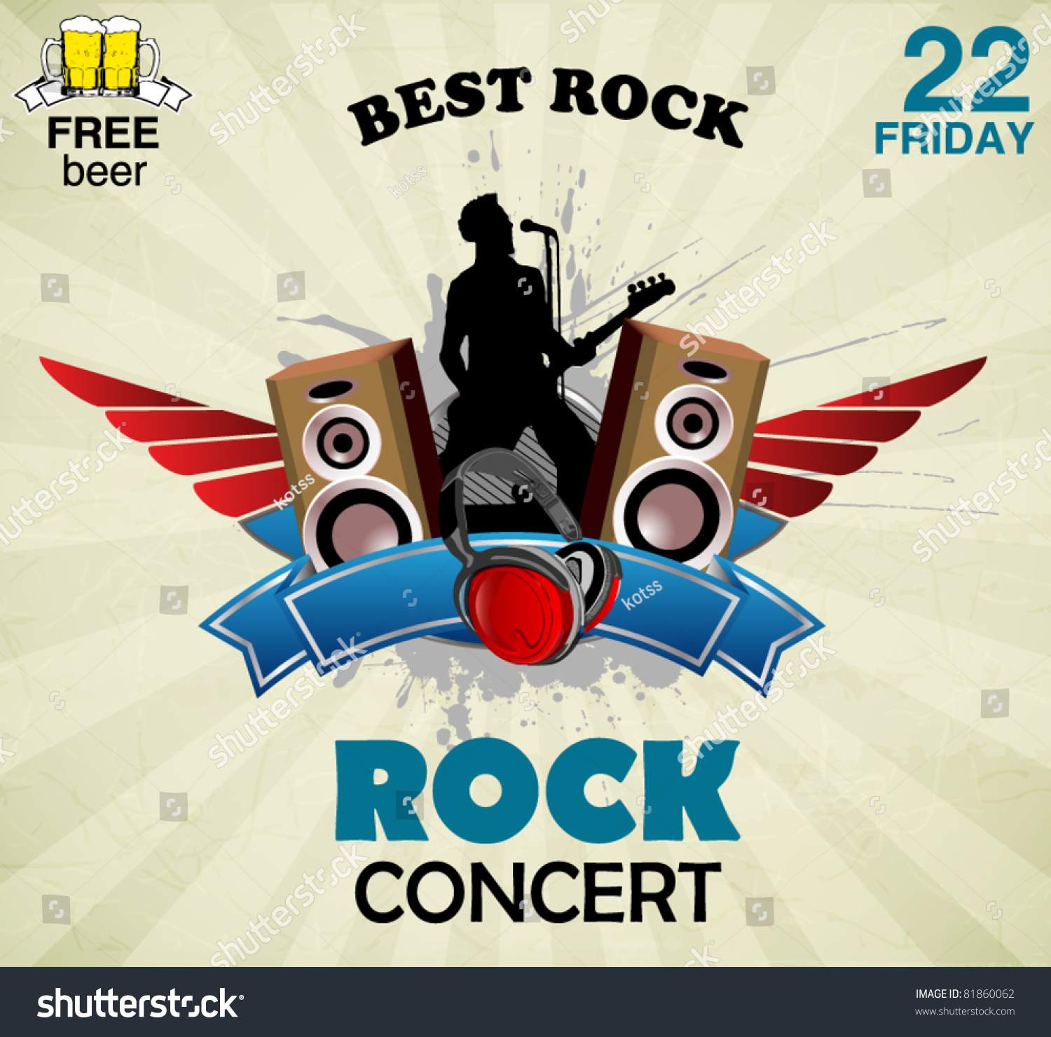 Rock music sign concert poster stock vector