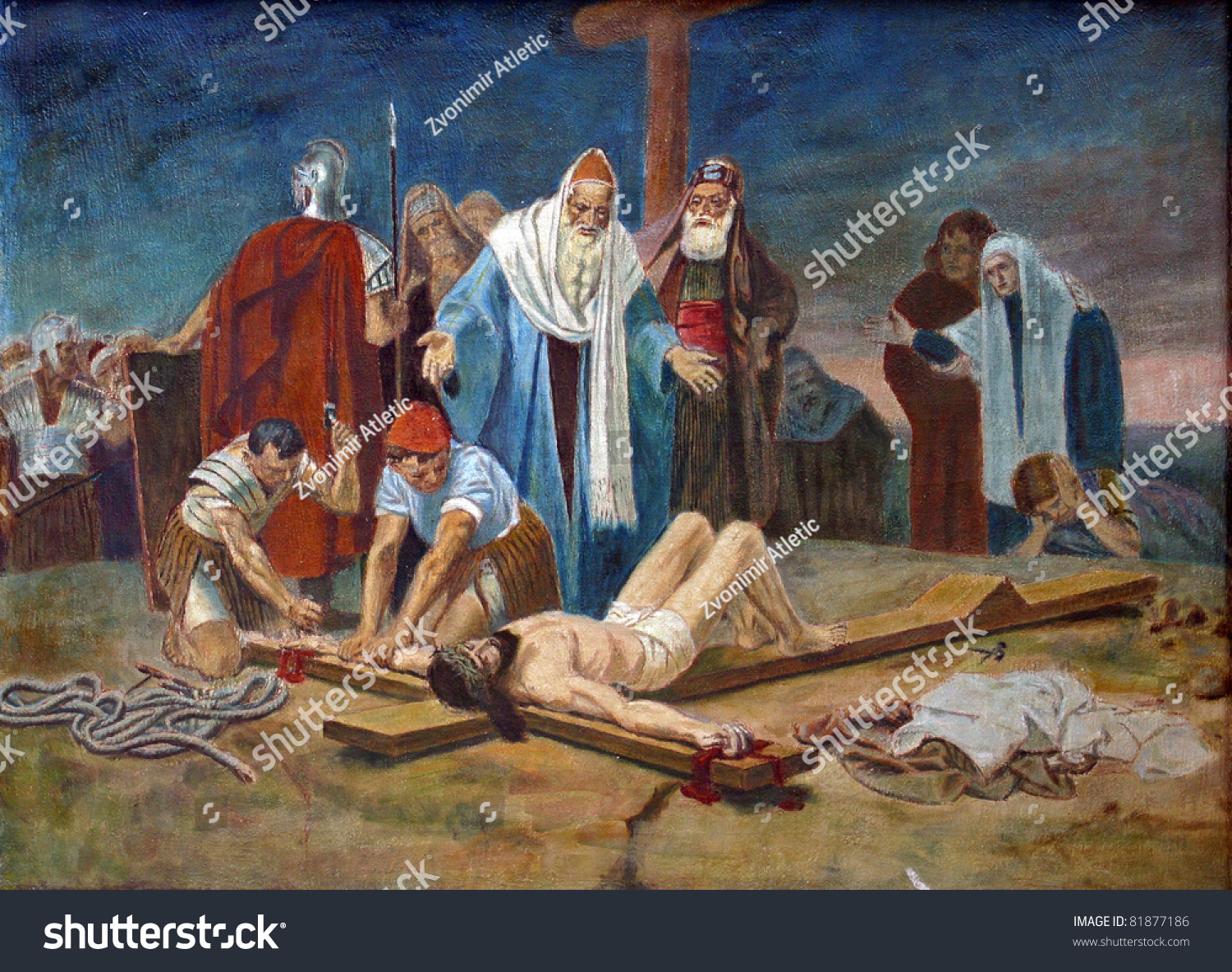 11th Station Cross Crucifixion Jesus Nailed Stock Photo