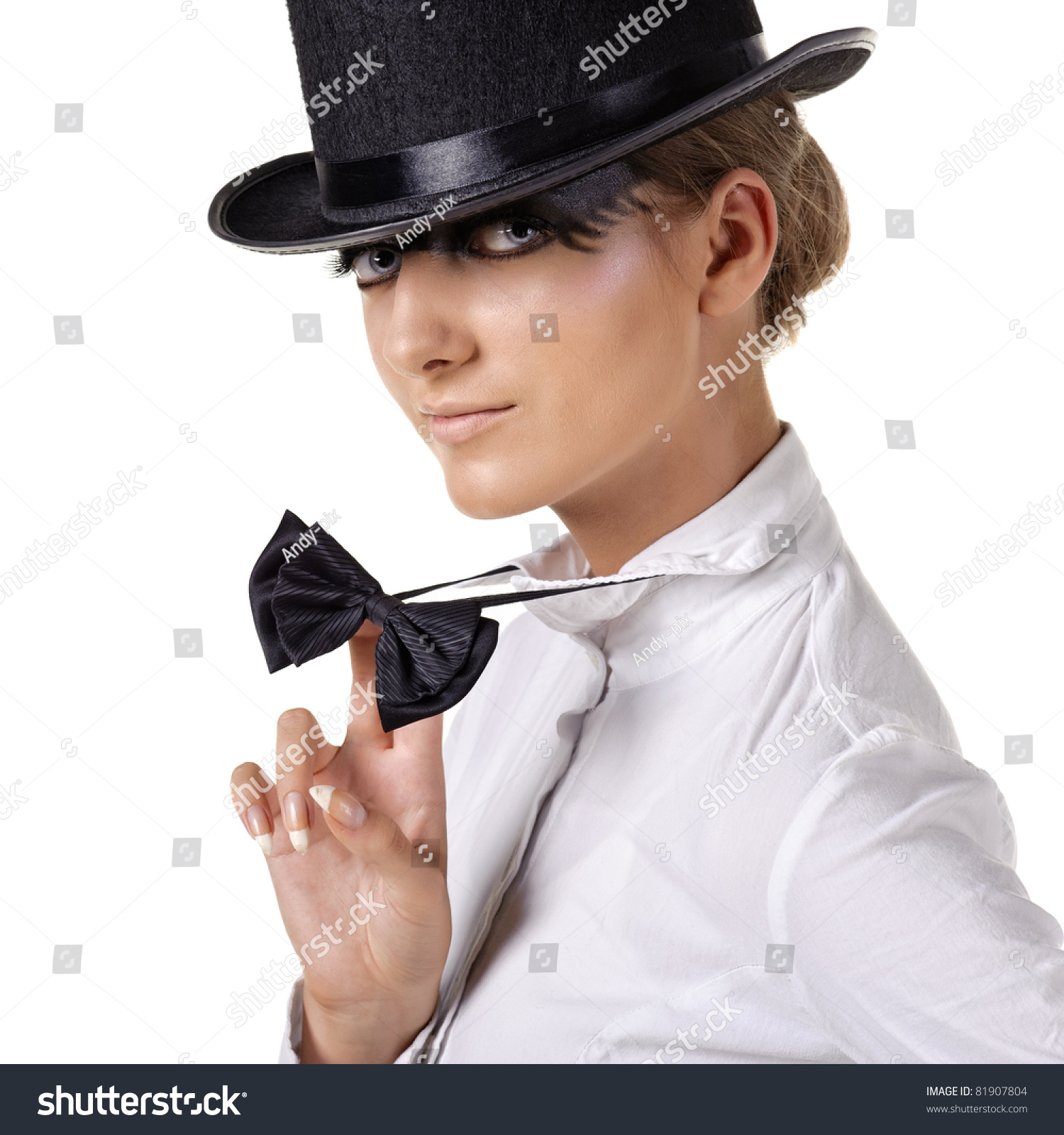 Fashion Model Top Hat Stock Photo 81907804