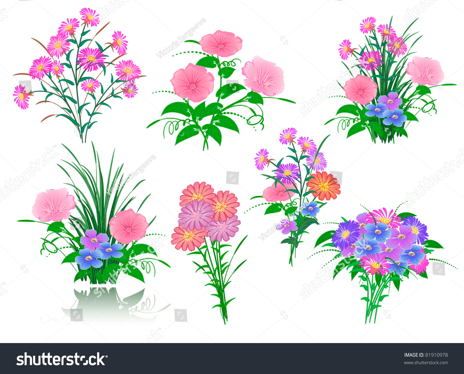 Collection Beautiful Flower Bouquets Your Design Stock Photo (Photo ...