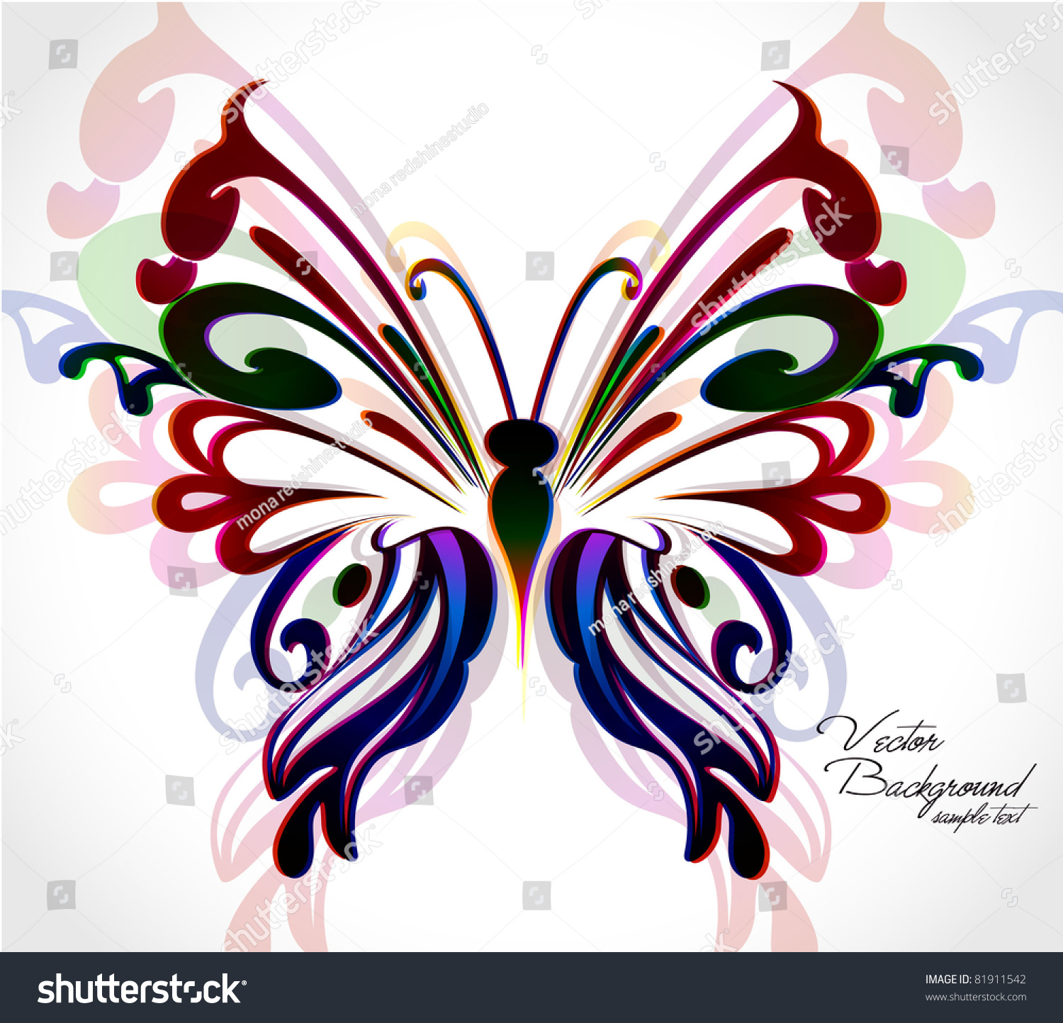 Abstract Colorful Background With Floral Butterfly. Vector