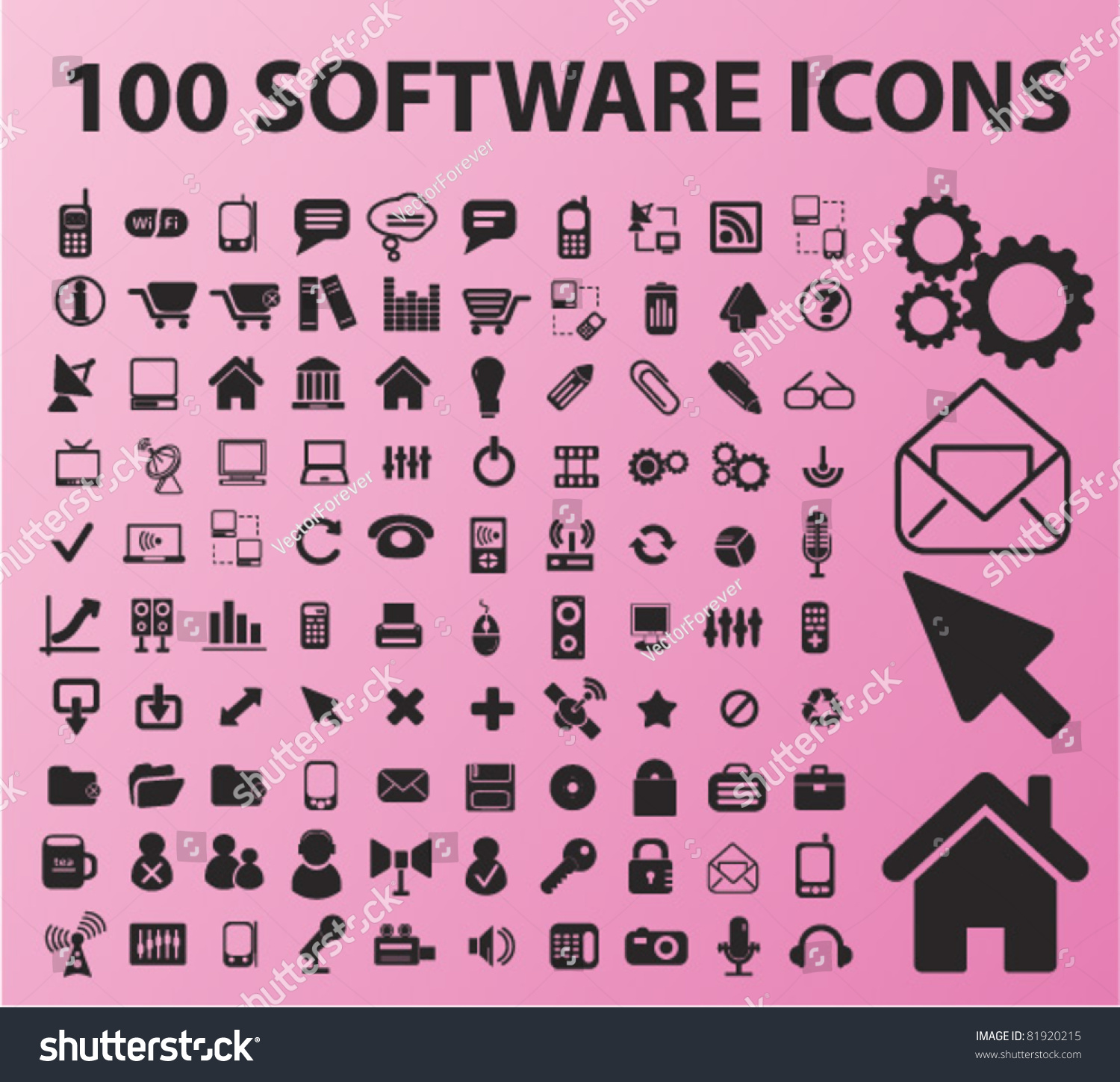 100 Software Icons Signs Vector Illustrations Stock Vector: vector image software