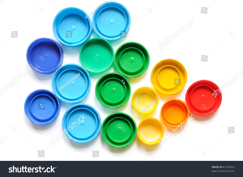 Colorful Plastic Bottle Screw Caps Used Stock Photo