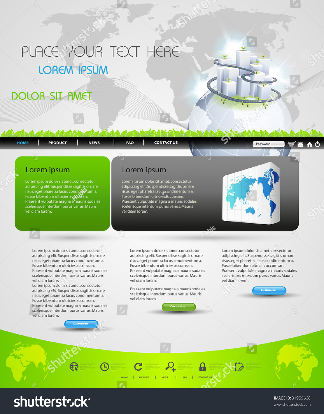Web Page Template Design Business Homepage Stock Vector Royalty