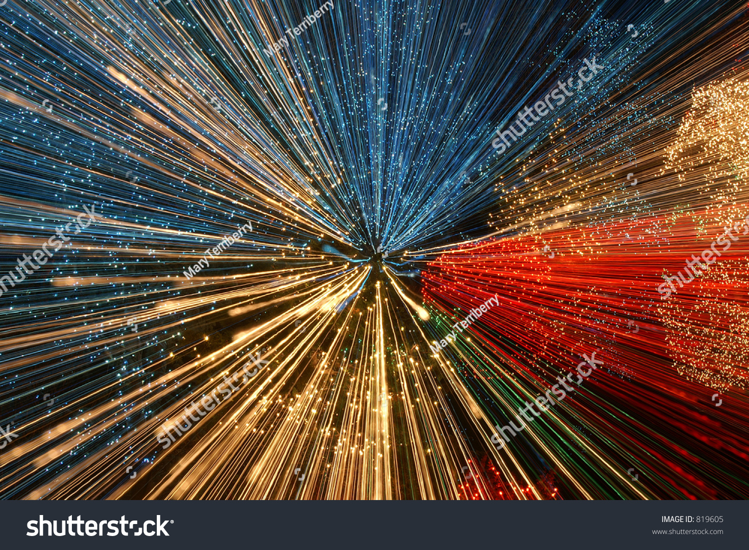 Holiday Lights In Abstract Slow Shutter >> Christmas Lights Zooming During Slow Shutter Stock Photo Edit Now