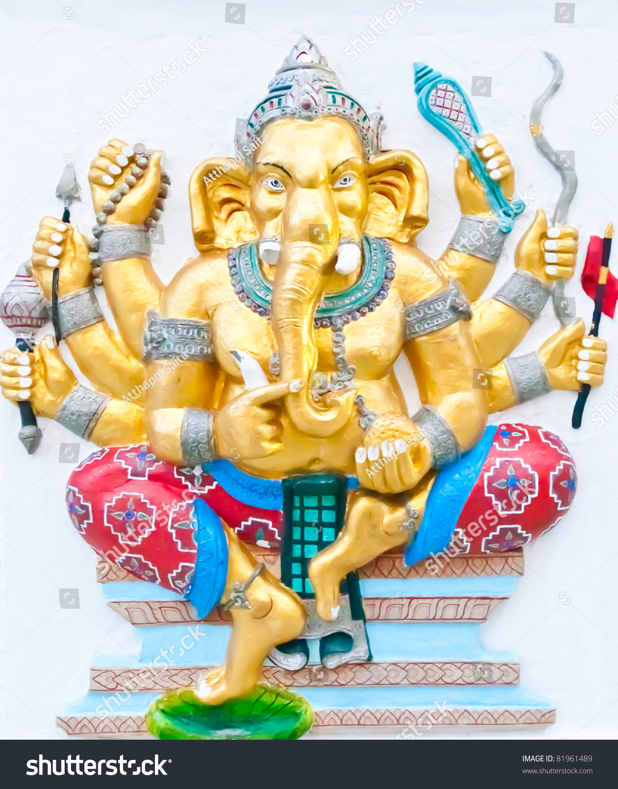 Golden Eight Hands Ganesha Weapons Hands Stock Photo (Royalty Free ...
