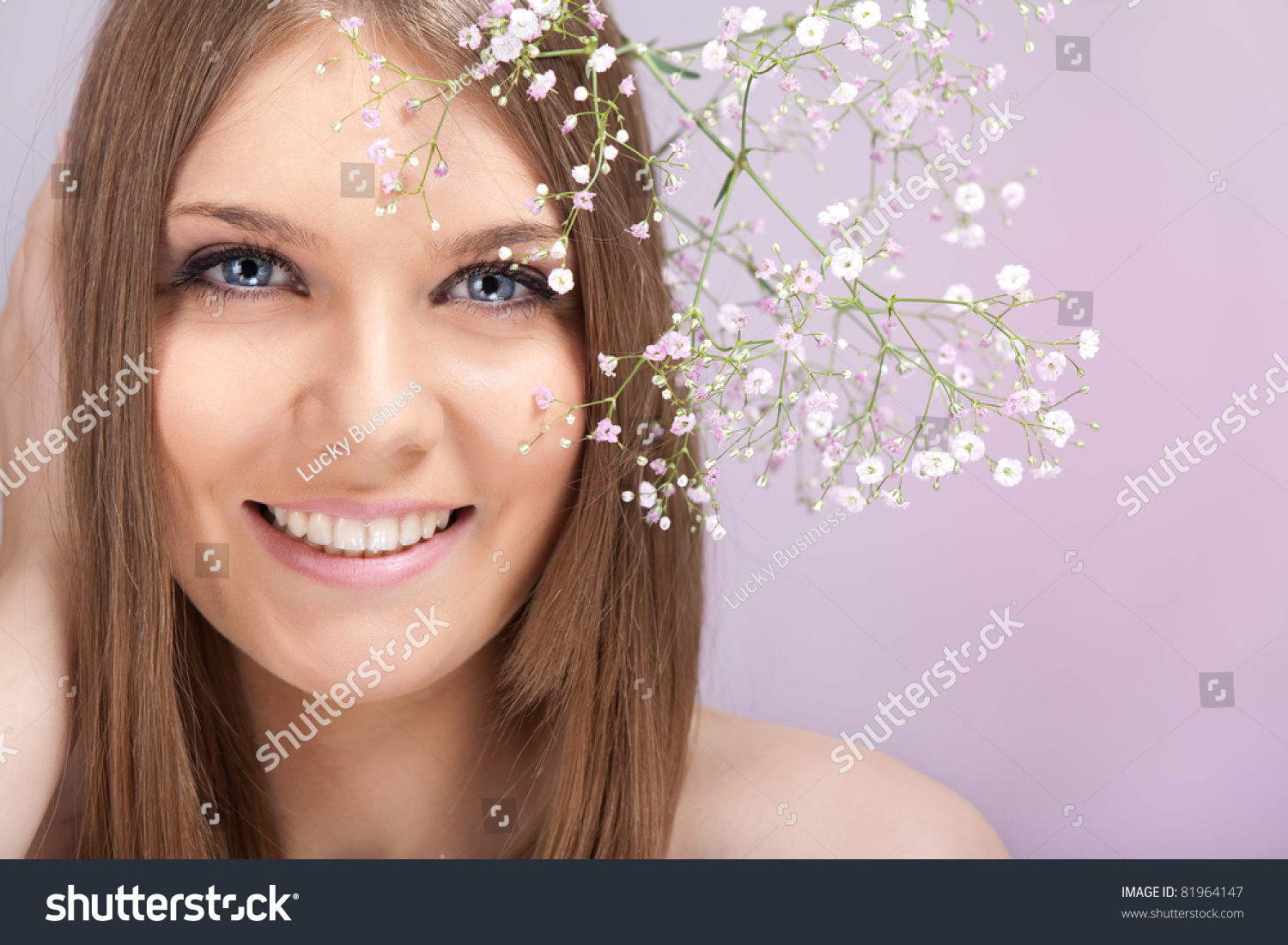 Beauty Woman Small White Flowers Hair Stock Photo Edit Now