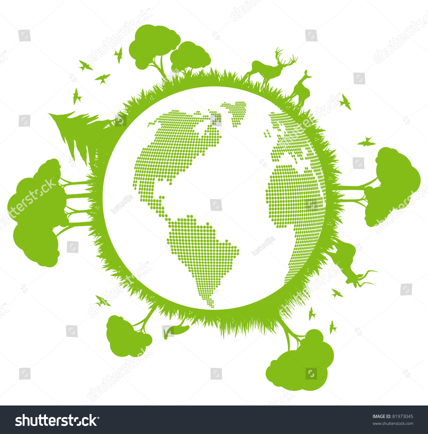 Green And Clean Ecology Earth Globe Concept Vector ...