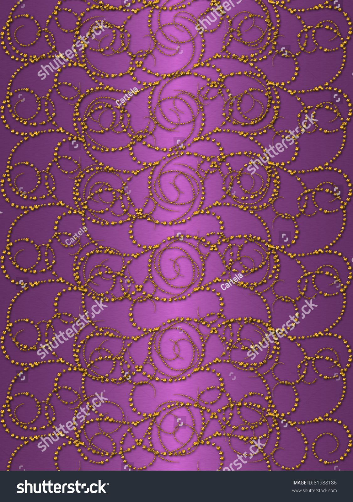 Gold Pattern On The Purple Vintage Background Stock Photo 81988186 : Shutterstock