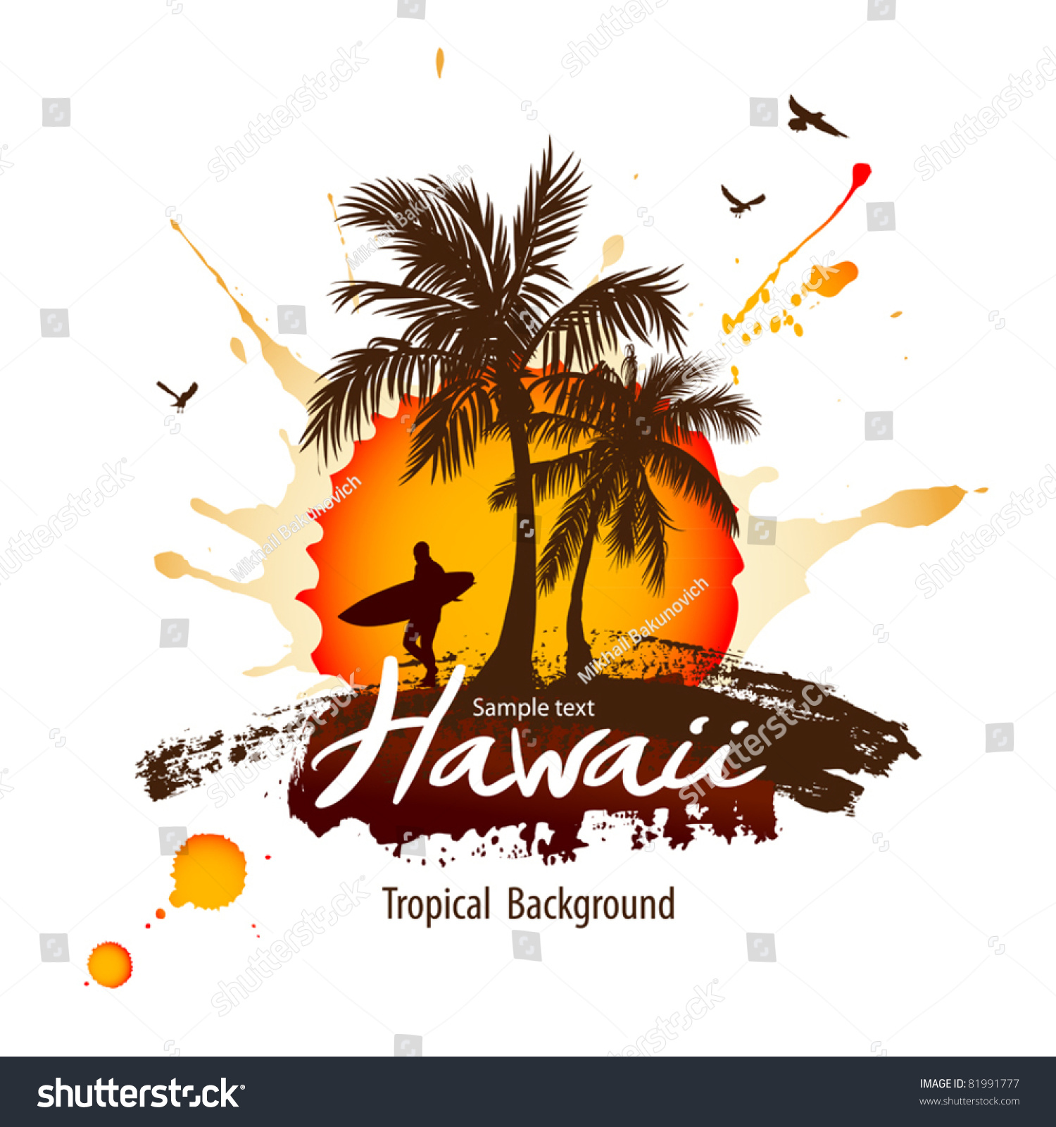 Sunset At Tropical Beach Stock Vector Illustration