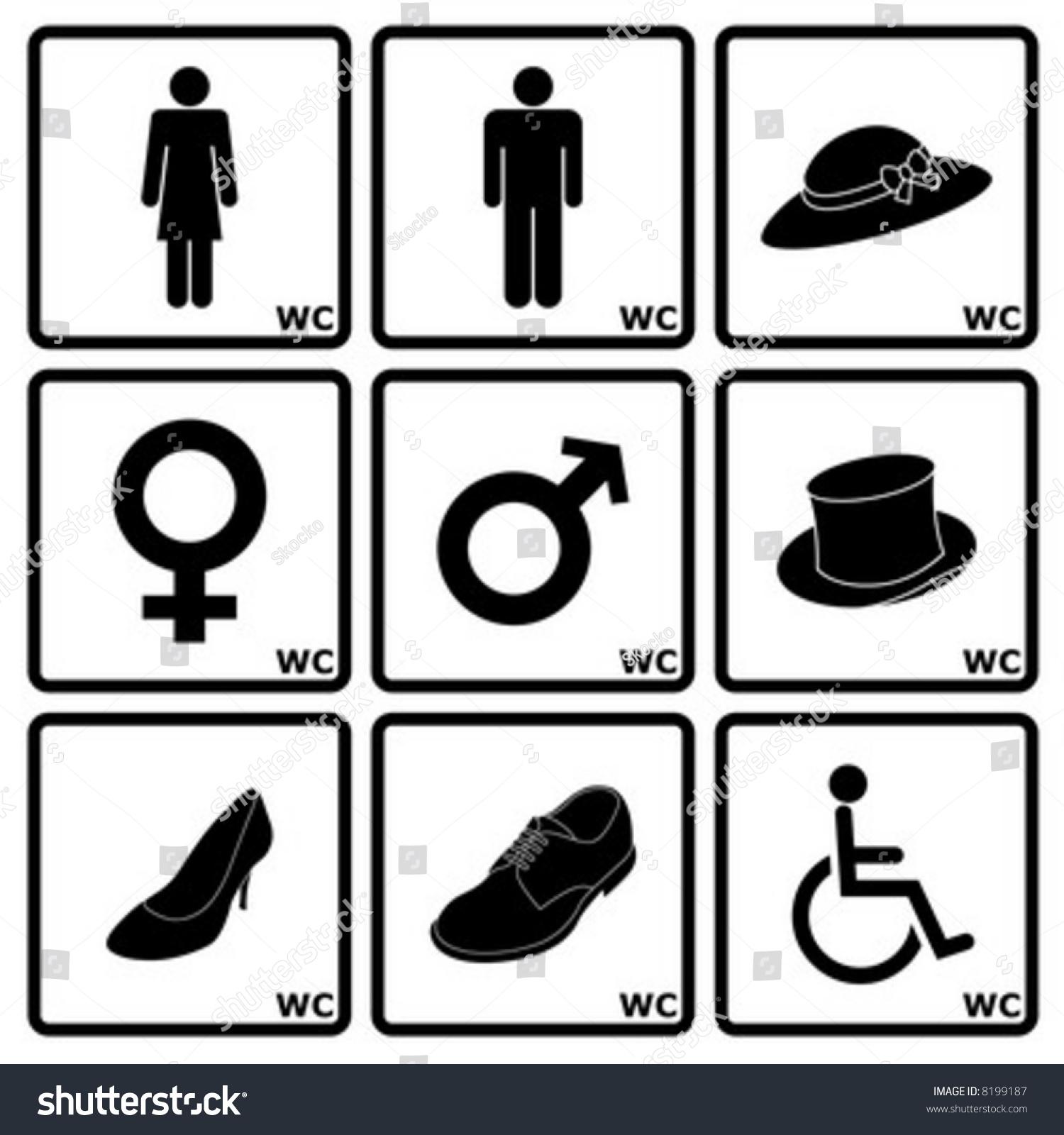 Signs Indicating WomenS And MenS Toilets Stock Vector Illustration  -> Banheiro Feminino Vetor Free