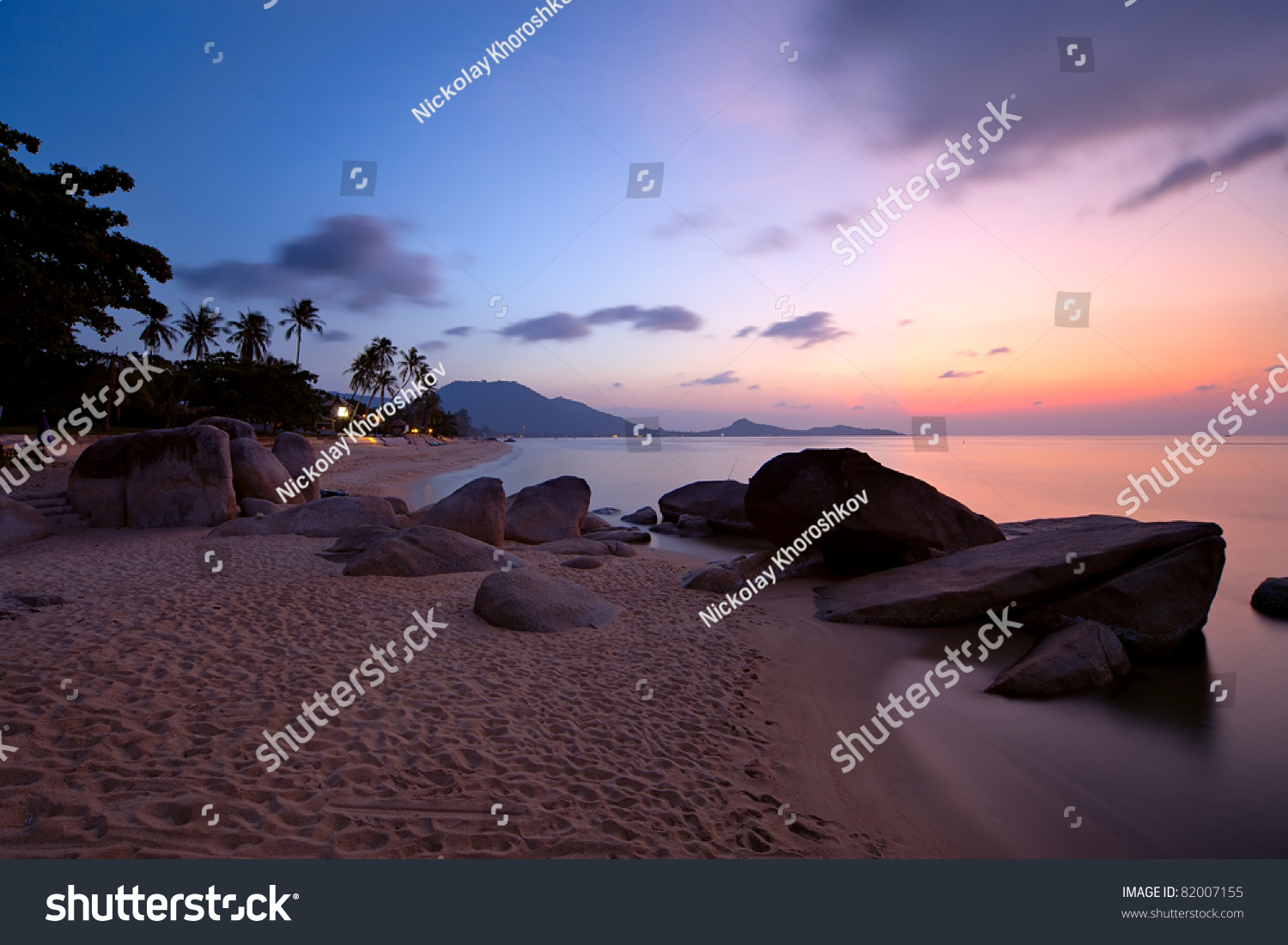 Sunrise At Lamai Beach, Koh Samui Island, Thailand Stock ...