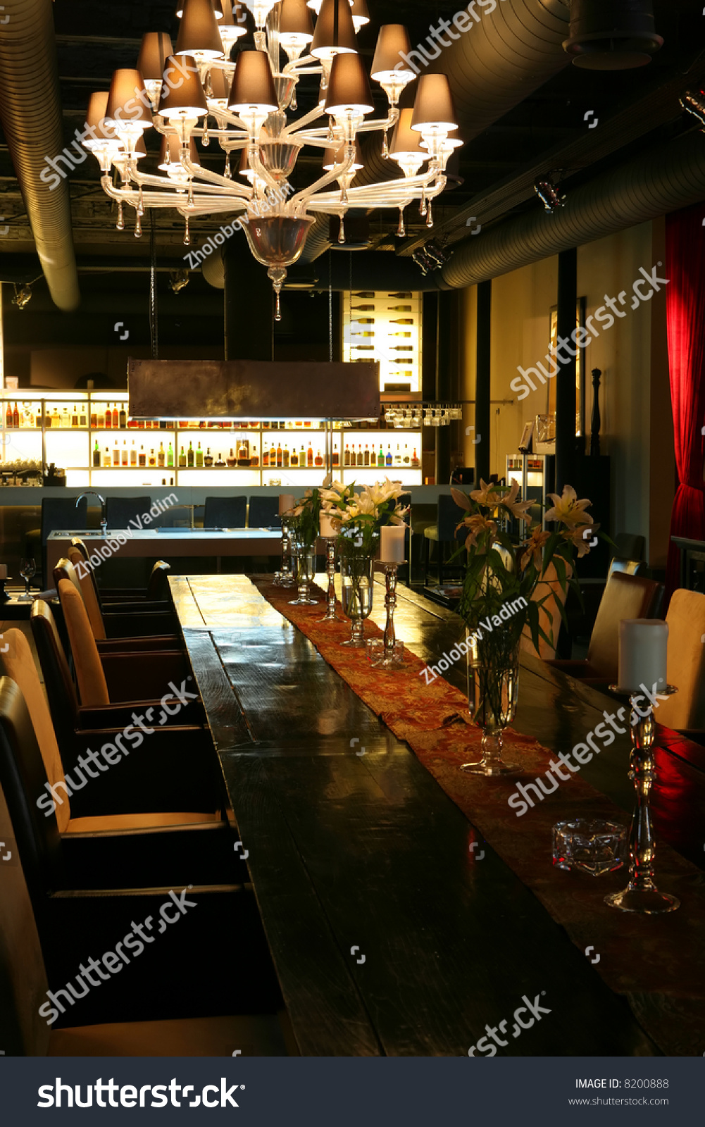 Interior of the restaurant in dark red tone stock photo