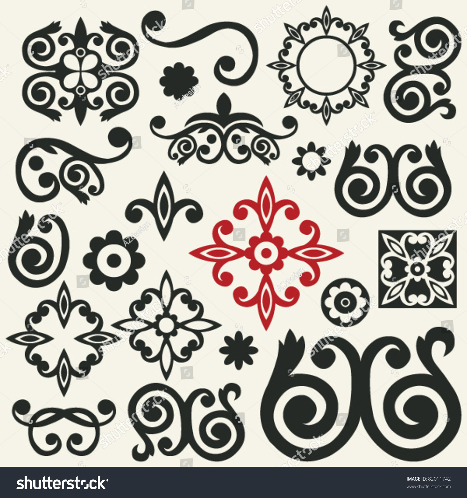Baroque ornaments abstract floral design elements stock for Baroque design elements