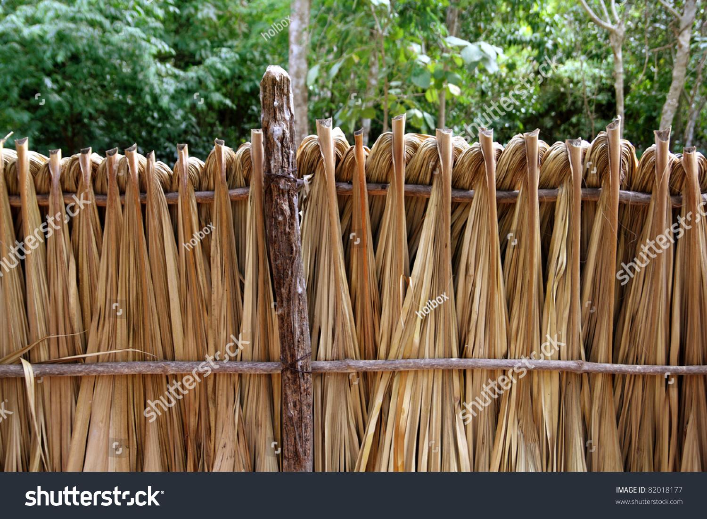 Mayan palm tree leaves wood fence stock photo