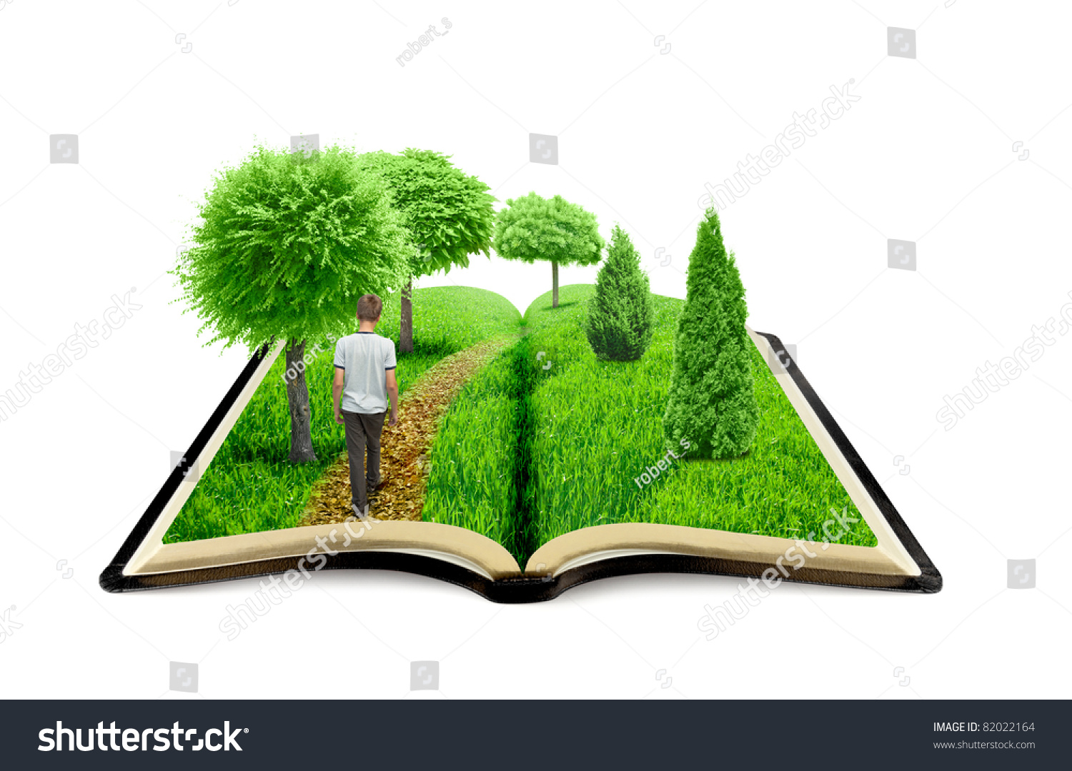 Young Man Walk On Book Nature Stock Illustration 82022164 ...