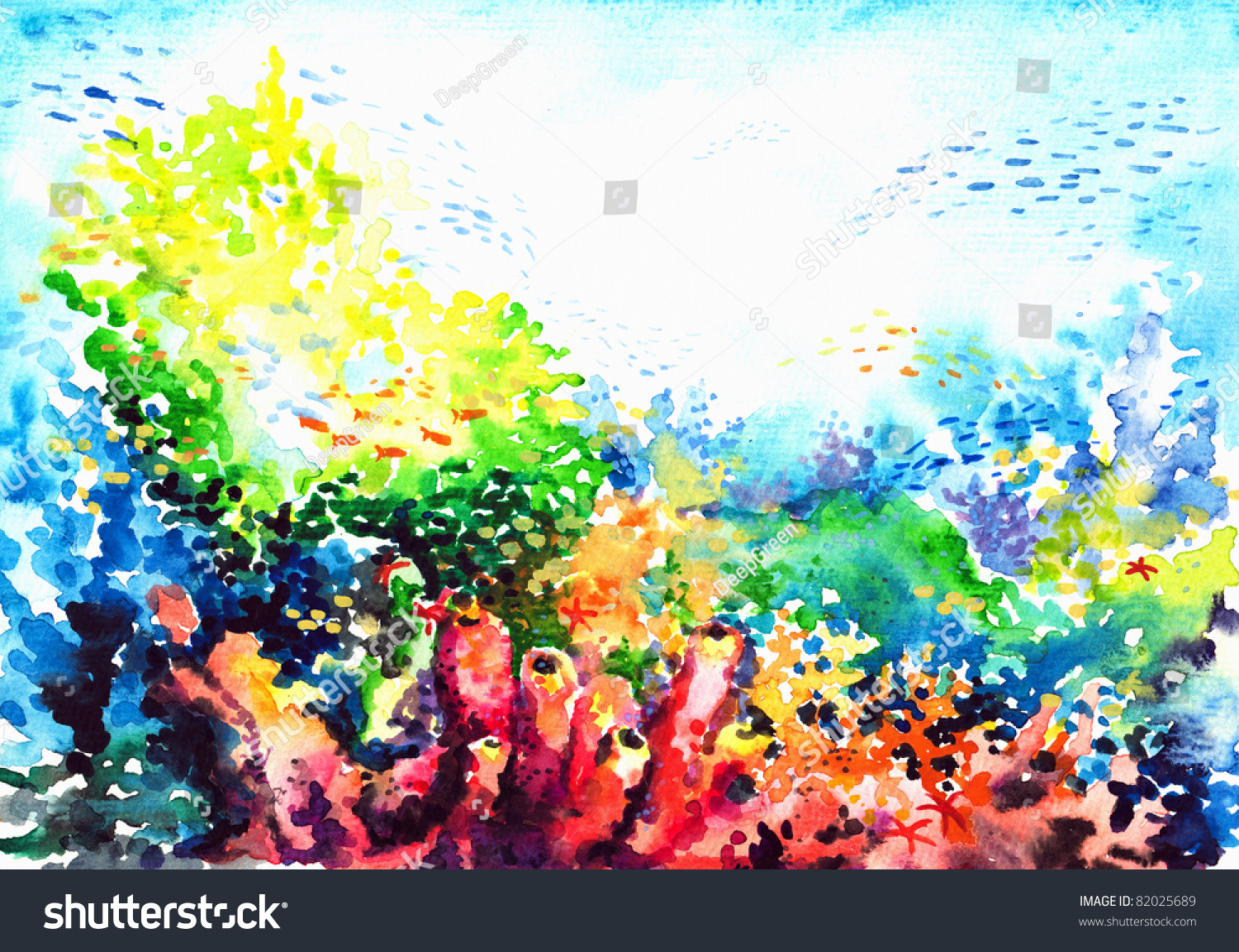 Underwater Landscape Coral Reef Watercolor Painted Stock ...