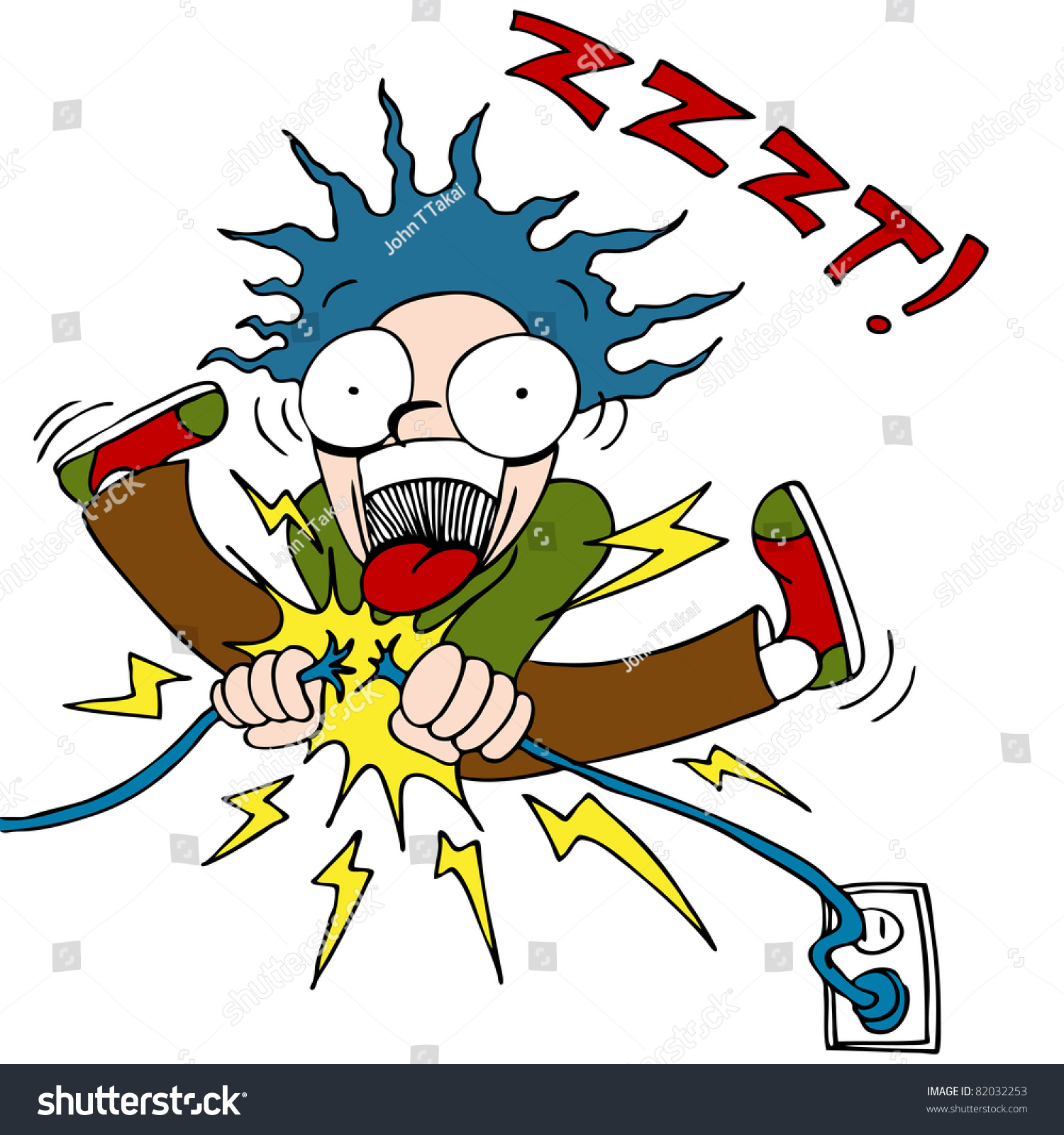 Image Man Trying Fix Electrical Wire Stock Vector 82032253 ...