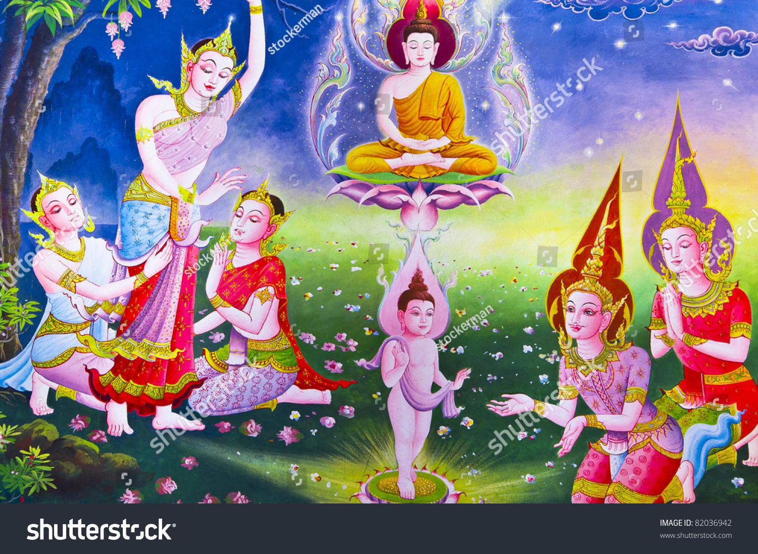 Traditional Thai Style Art Story About Stock Photo 82036942 ...