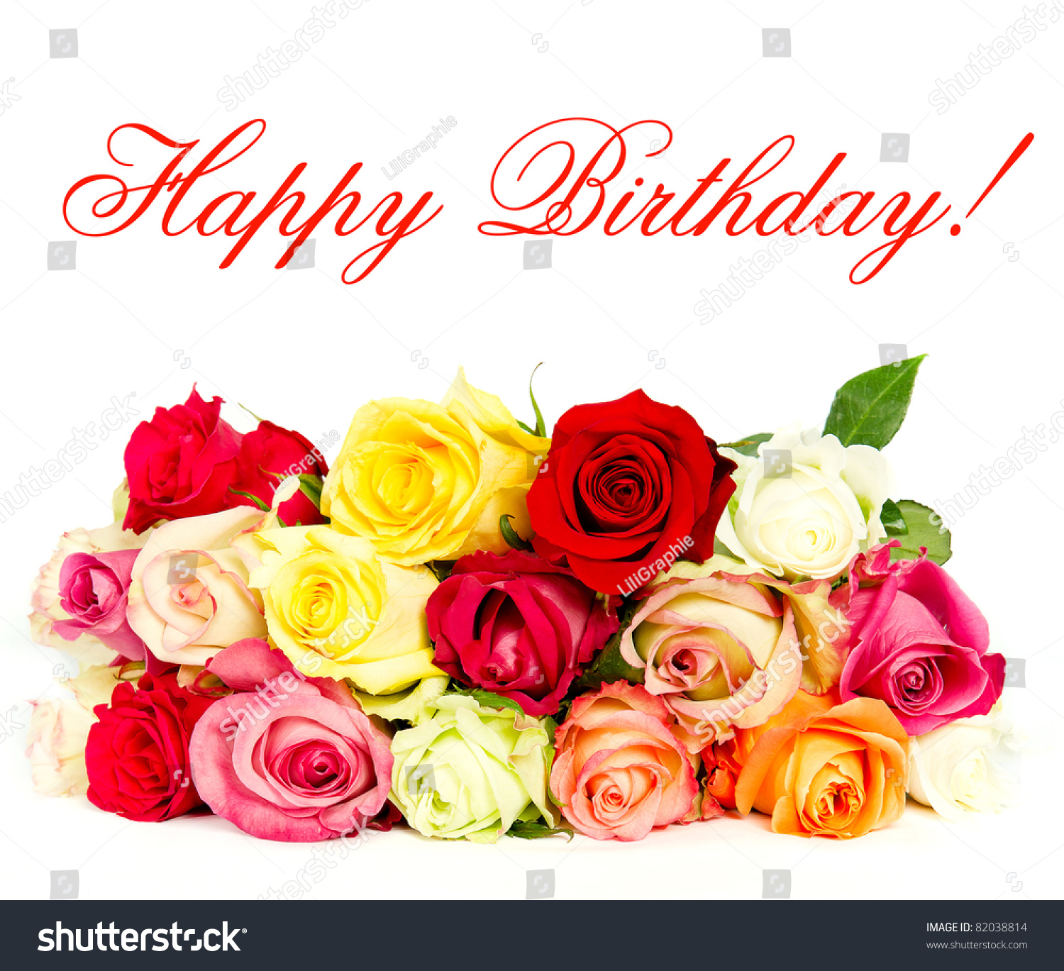 Happy Birthday Colorful Roses Beautiful Flower Stock Photo Edit Now