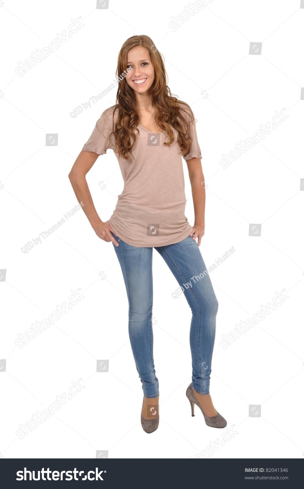 junge frau mit jeans stock photo 82041346 shutterstock. Black Bedroom Furniture Sets. Home Design Ideas