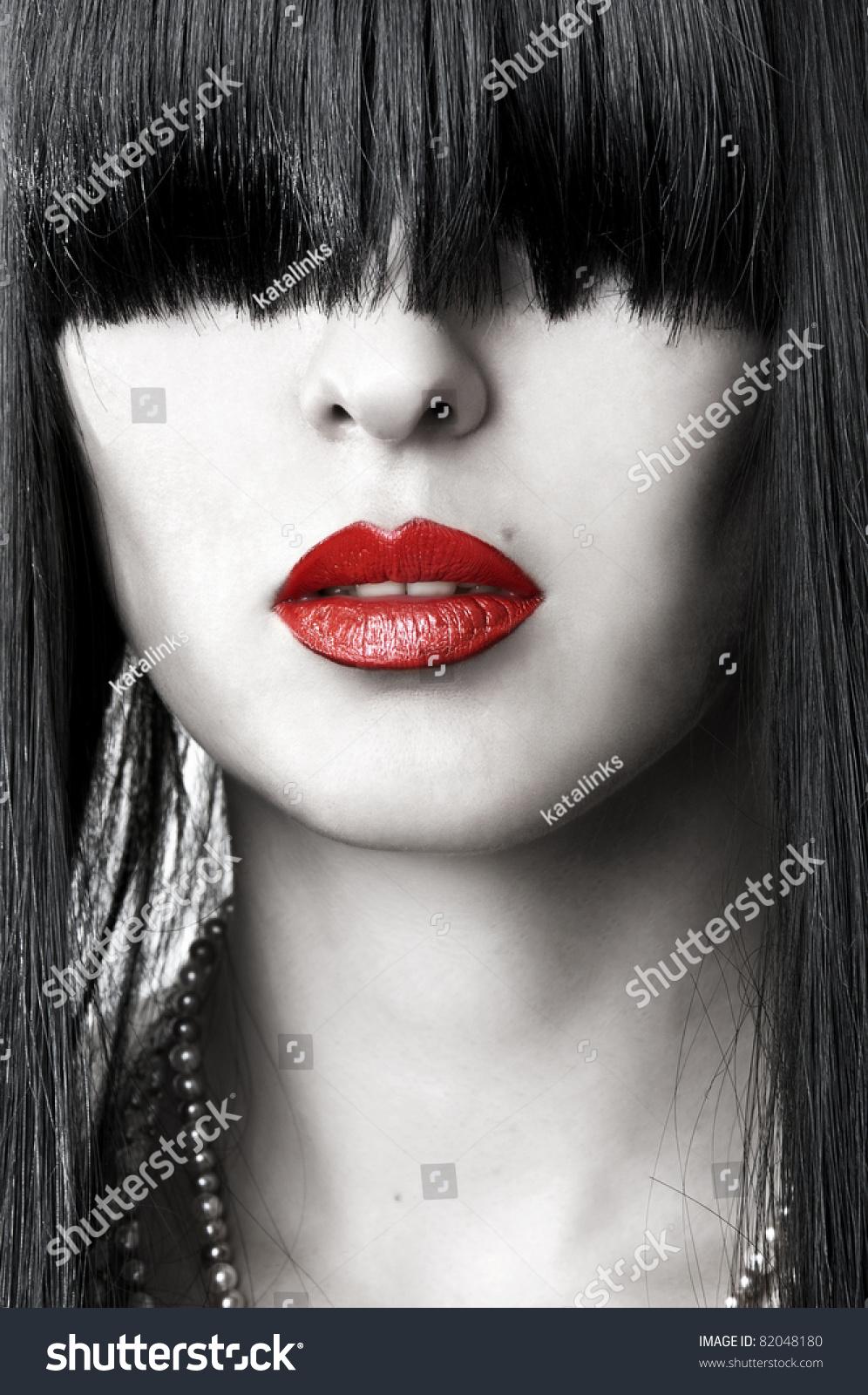 Black White Red Closeup Fashion Portrait Stock Photo ...