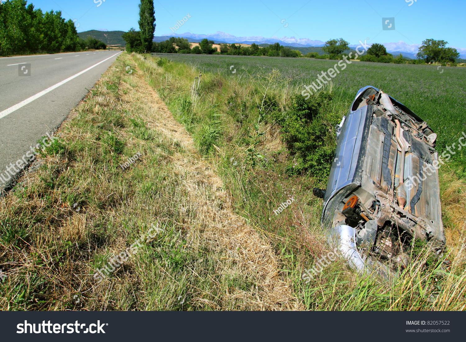 car crash accident with an upside down vehicle off the road stock photo 82057522 shutterstock. Black Bedroom Furniture Sets. Home Design Ideas