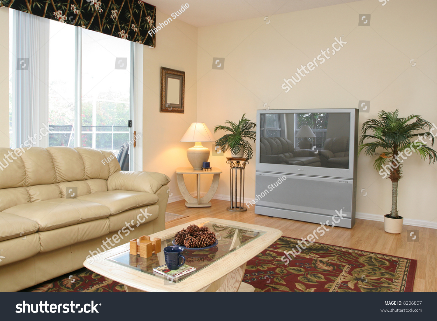 Living Room Corner With Big Screen Tv Stock Photo 8206807 Shutterstock
