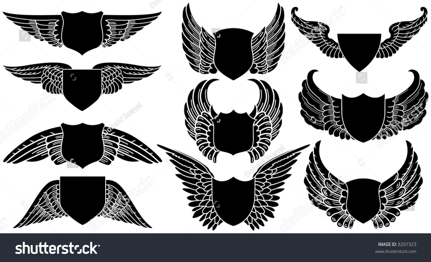 Shields with wings create your own logo stock vector for Draw my own logo