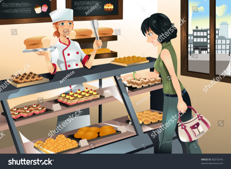 Vector Illustration Woman Buying Cake Bakery Stok Vektör