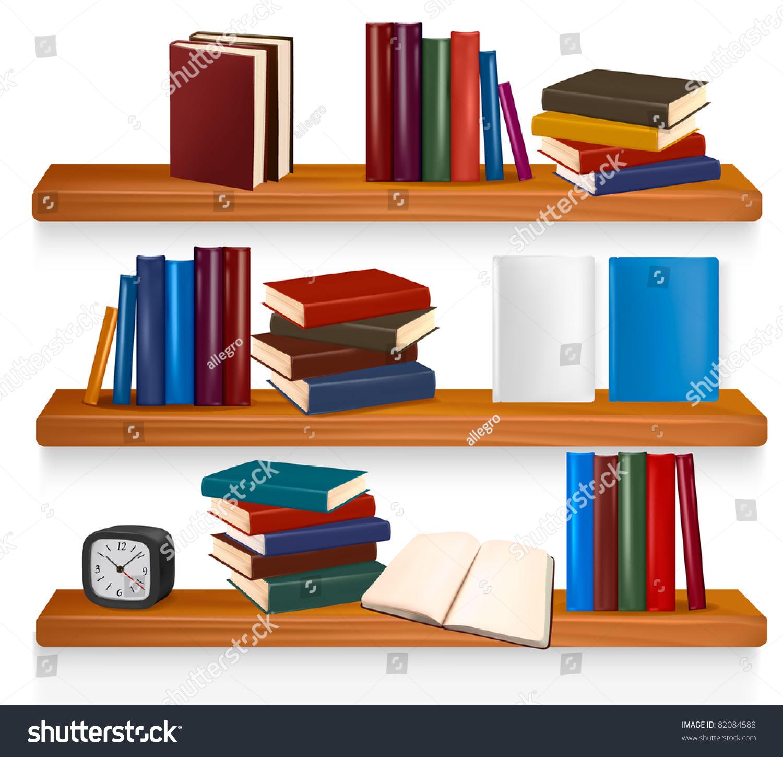 Vector books on shelf illustration - books on clipart.