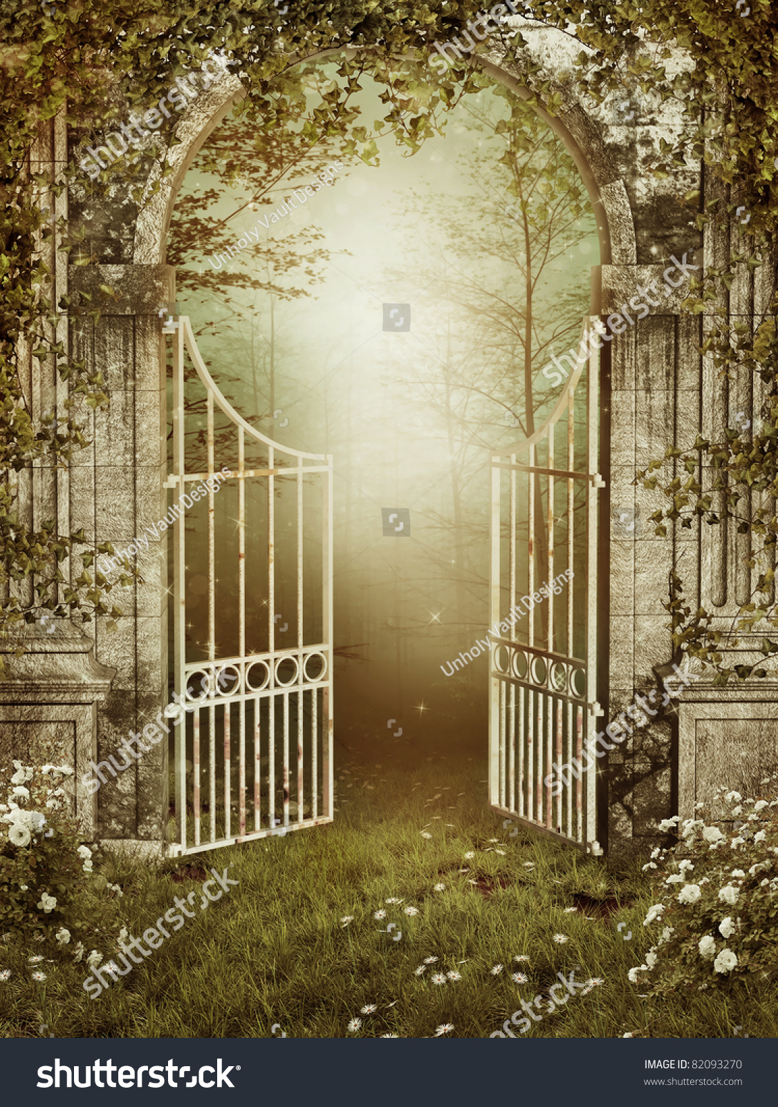 Old Garden Gate With Ivy And Roses Stock Photo 82093270