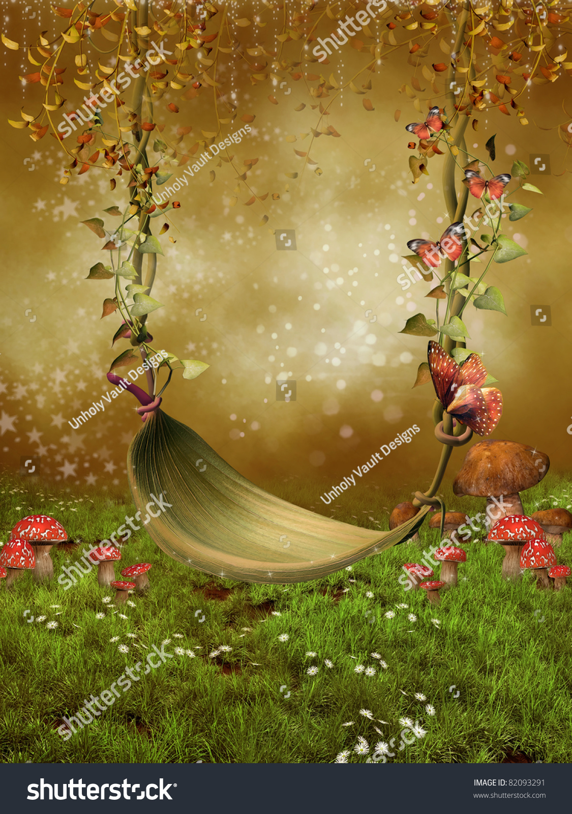 fantasy fairy garden leaf swing stock illustration