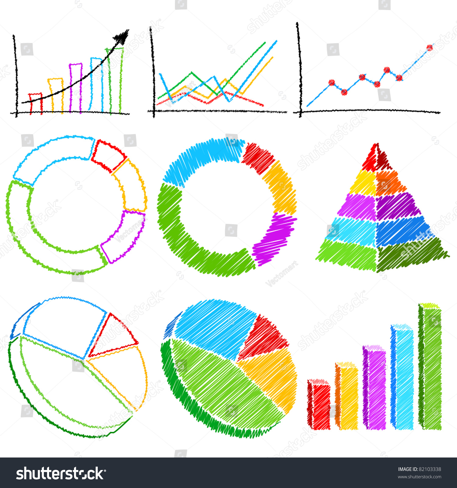 Illustration Of Set Of Bar Graph,Pie Chart And Line Graph