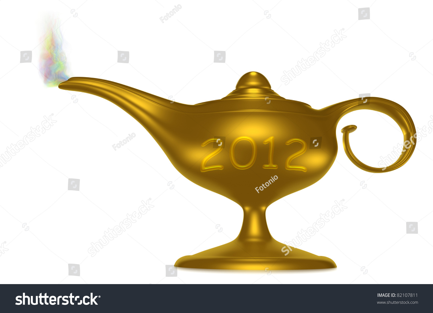 Magical genie lamp smoke colored symbol stock illustration a magical genie lamp with smoke colored symbol of welcome of the new year 2012 biocorpaavc Gallery
