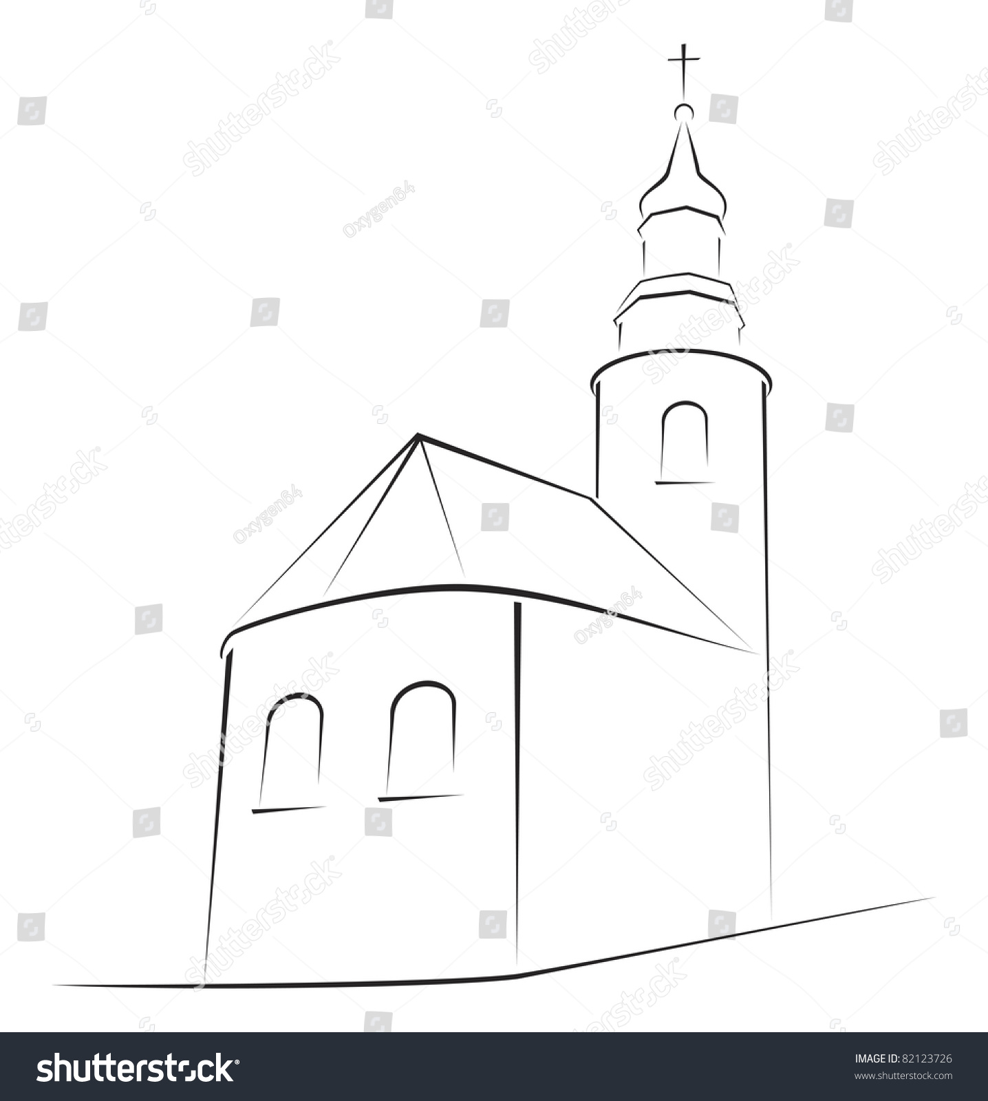 structure church on simple sketch stock vector 82123726 shutterstock