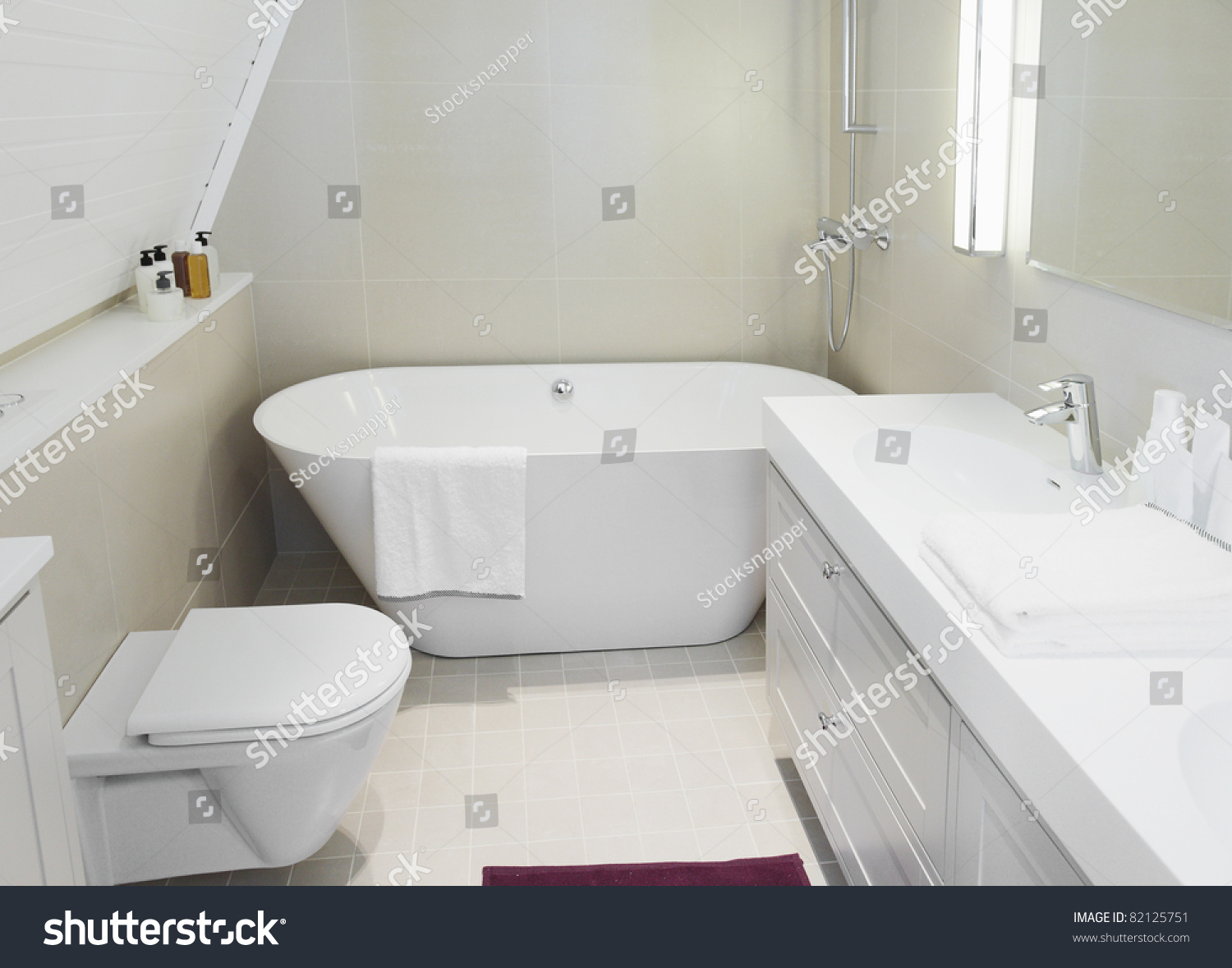 Modern new small bathroom interior bath stock photo for New small bathroom