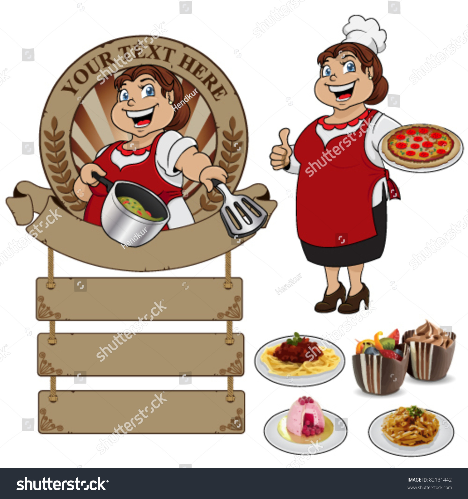 White apron food - Woman Chef Wearing Apron On A White Background