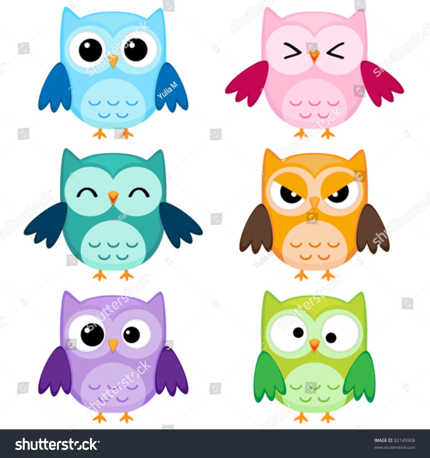 Set Six Cartoon Owls Various Emotions Stock Vector Royalty Free 82145908