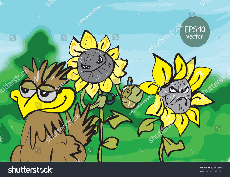 Two Cartoon Sunflowers Bird Stock Vector 82147591