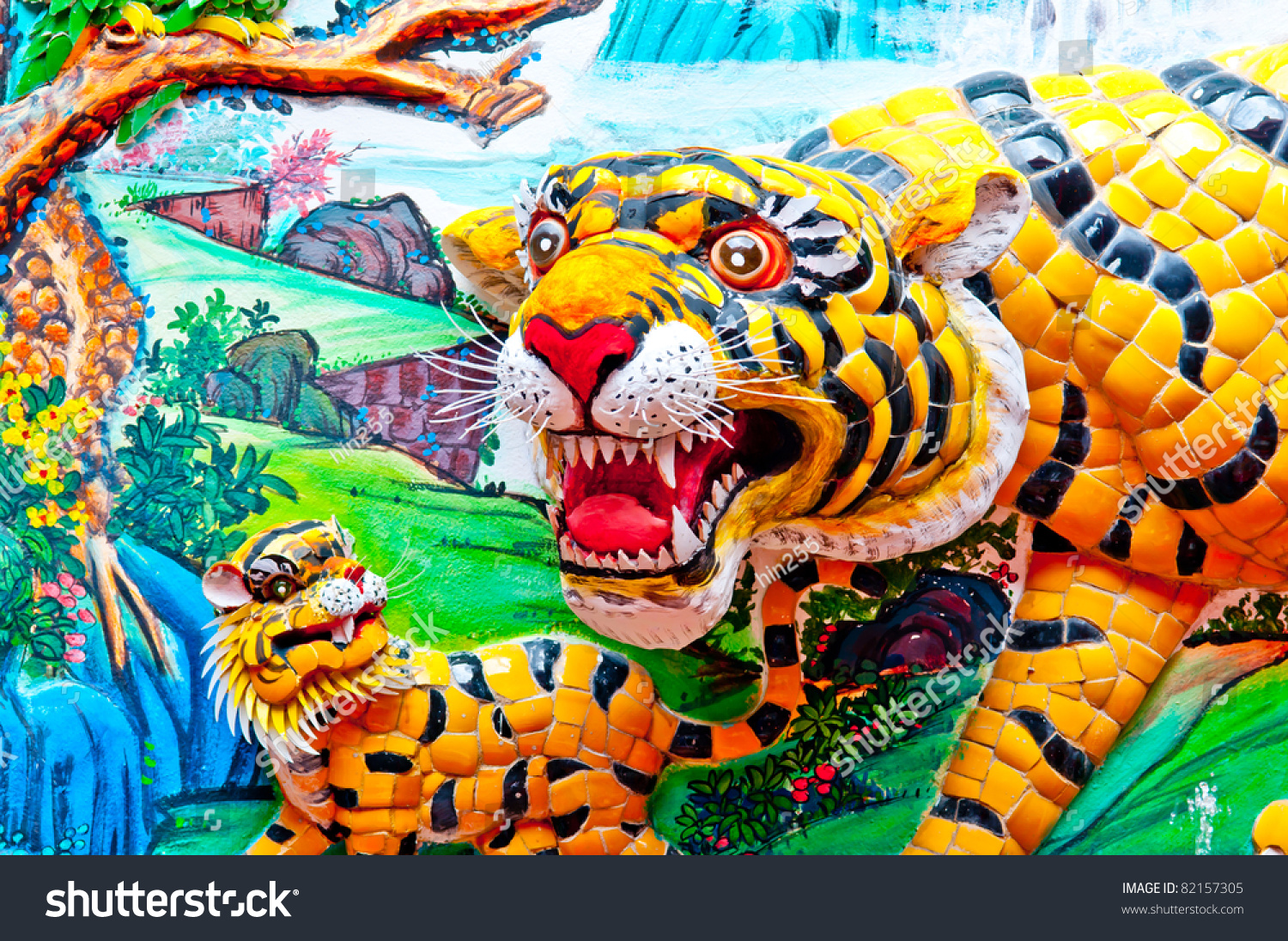 close colorful tigers statue chinese temple stock photo 82157305