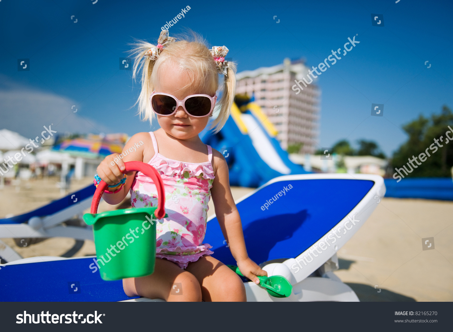 36af942c9626 Baby Girl Sunglasses On Beach Playing Stock Photo (Edit Now ...