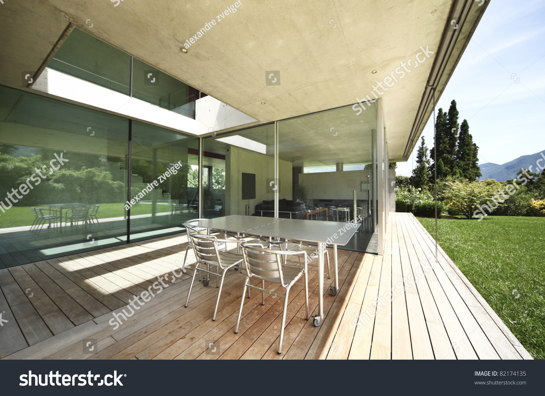 rchitecture, Modern House Outdoors, Veranda Stock Photo 82174135 ... - ^