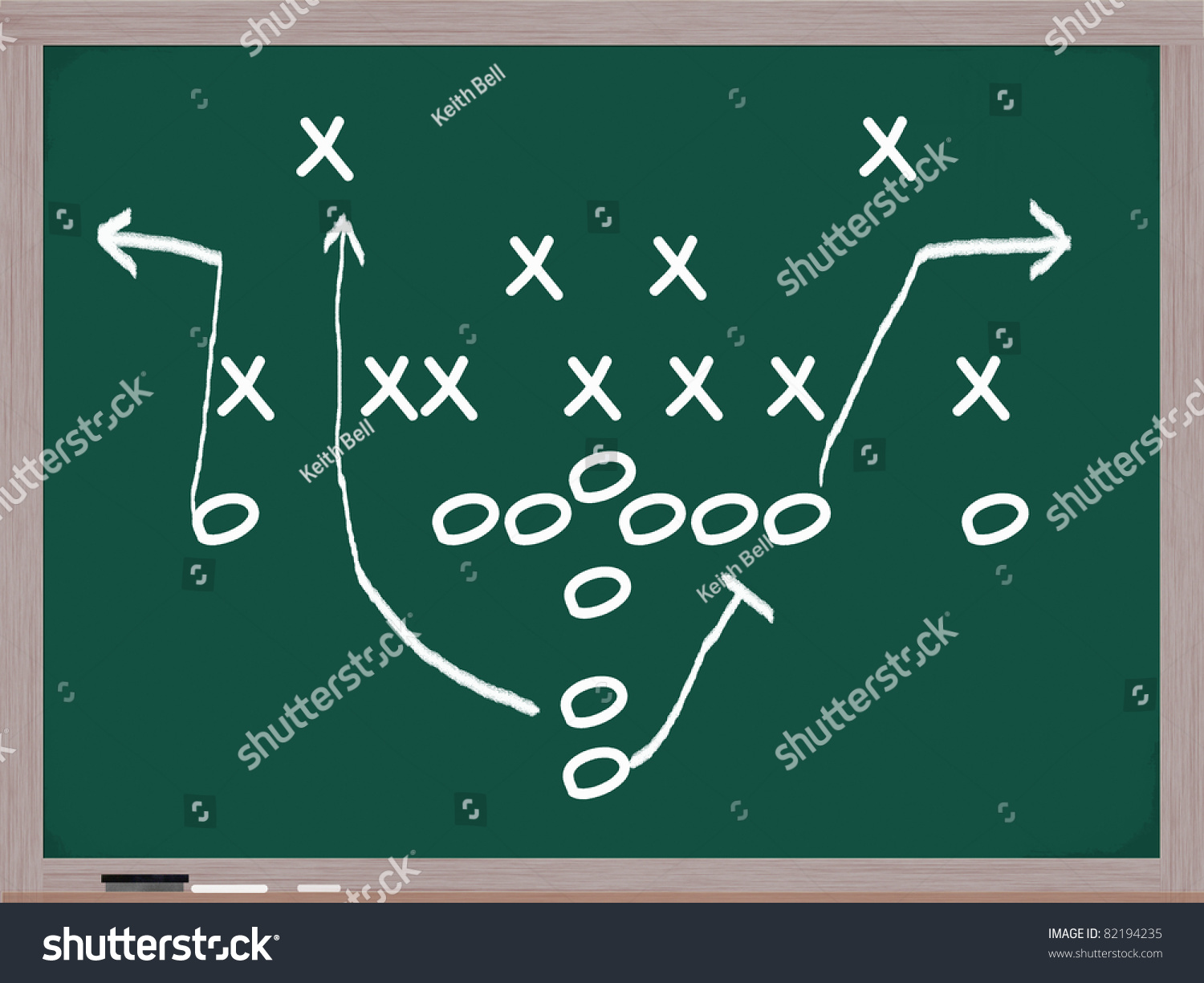 a football play diagram on a chalkboard in white chalk showing the    save to a lightbox