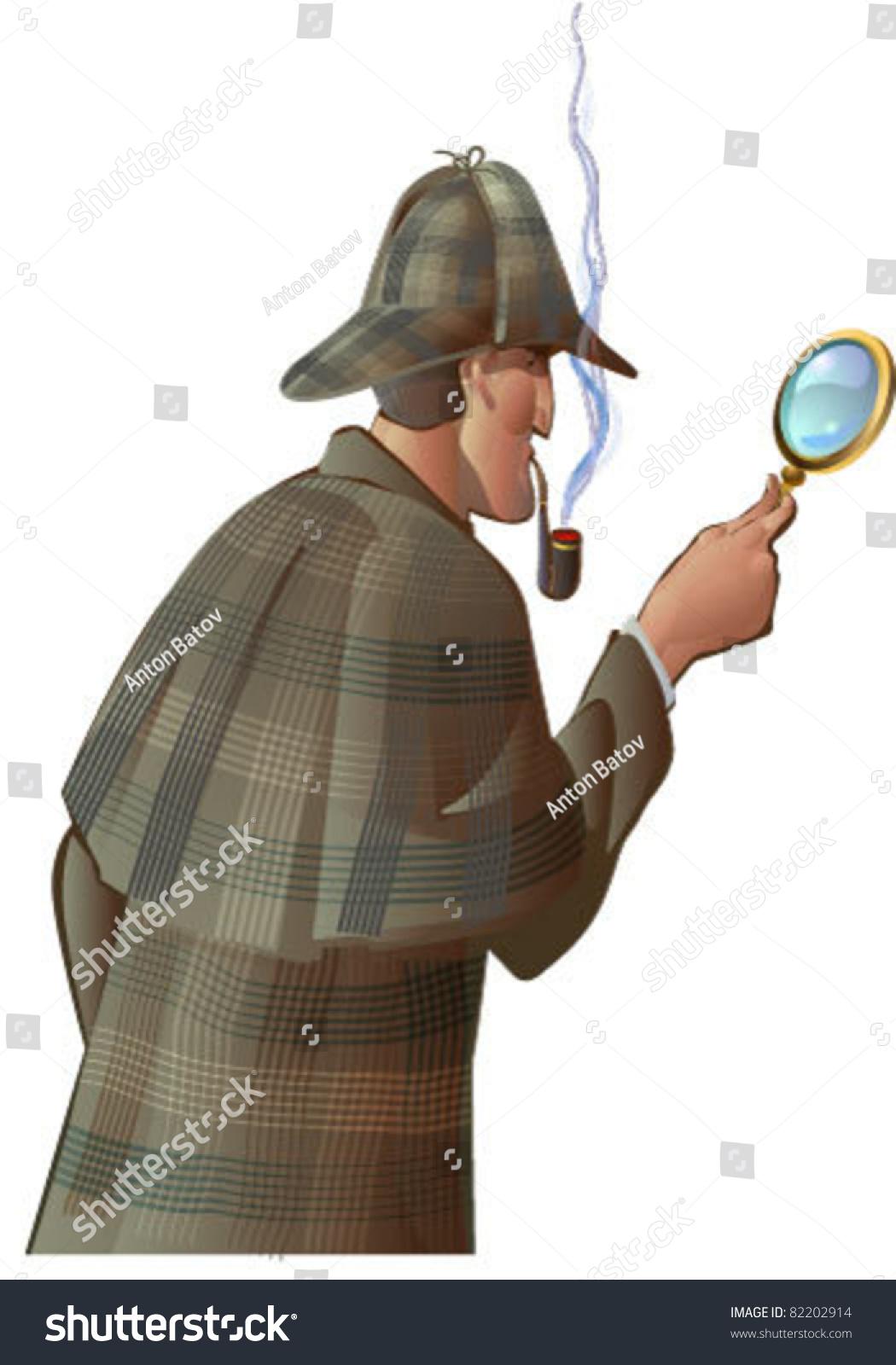 Detective Sherlock Holmes Magnifying Glass Stock Vector