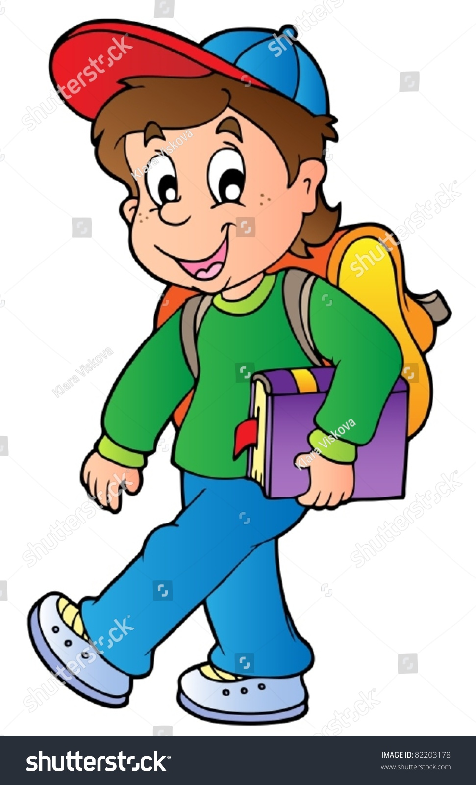 Cartoon Boy Walking School Vector Illustration Stock